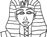 Disegno Tutankamon pitturato su maschera faraone