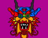 Disegno Muso di drago  pitturato su claun arcobaleno