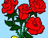 Disegno Mazzo di rose  pitturato su ALESSIA VALENTINO
