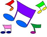 Disegno Note musicali  pitturato su note colorate