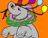 Disegno Elefante con 3 palloncini  pitturato su silvestrino