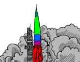Disegno Lancio di un razzo  pitturato su filippovi