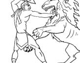 Disegno Gladiatore contro un leone pitturato su TOTO