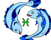 Disegno Pesci pitturato su La Pimpa