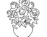 Disegno Vaso di fiori pitturato su bianca