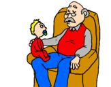 Disegno Nonno e nipote  pitturato su su primera istroria