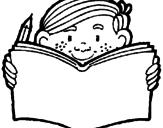 Disegno Compiti a casa  pitturato su bimbo che legge