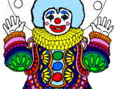 Disegno Pagliaccio mascherato  pitturato su martina