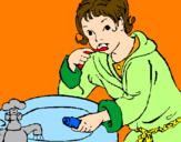 Disegno Bambino che si lava i denti  pitturato su simo 95