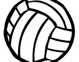 Disegno Pallone da pallavolo  pitturato su palla vecchia