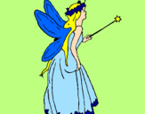 Disegno Fata con una lunga chioma  pitturato su rossella p.