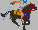 Disegno Cavaliere a cavallo IV pitturato su skenderbeu
