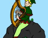 Disegno Folletto che suona l'arpa  pitturato su tanya