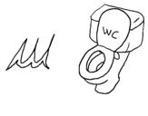 Disegno WC pitturato su wc