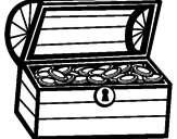 Disegno Tesoro pitturato su forziere catechismo