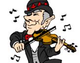 Disegno Folletto che suona il violino pitturato su tanya