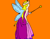 Disegno Fata con una lunga chioma  pitturato su sofia