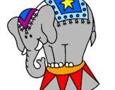 Disegno Elefante in scena  pitturato su alìce