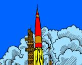 Disegno Lancio di un razzo  pitturato su matteo