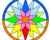 Disegno Mandala 28 pitturato su rosa dei venti