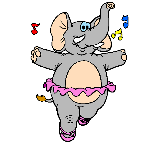 Disegno elefante con il tutù colorato da utente non