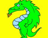 Disegno Drago panciuto pitturato su loris