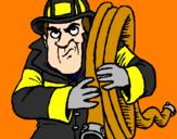 Disegno Pompiere  pitturato su Sam il pompiere