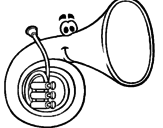 Disegno Corno  pitturato su tromba