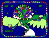Disegno Quetz pitturato su pilli