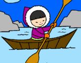 Disegno Canoa eschimese  pitturato su che bello remare