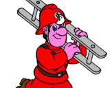 Disegno Pompiere  pitturato su CAMION POMPIERI 1