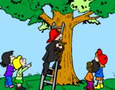 Disegno Pompiere in operazione di salvataggio  pitturato su Sam il pompiere