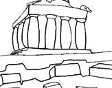 Disegno Partenone pitturato su hilary