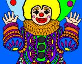 Disegno Pagliaccio mascherato  pitturato su lella