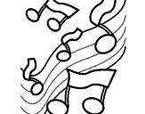 Disegno Note nella scala musicale  pitturato su NOTA MUSICALE