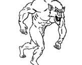 Disegno Uomo lupo  pitturato su  bvghj