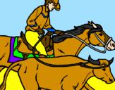 Disegno Cowboy e mucca  pitturato su nicholas