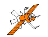 Disegno Satellite  pitturato su Filippo 3 anni