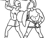 Disegno Lotta di gladiatori  pitturato su as
