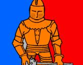 Disegno Cavaliere con una mazza  pitturato su jonas