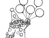 Disegno Pagliaccio con palloncini  pitturato su francesca