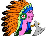 Disegno Indiano con le piume  pitturato su vincenzo
