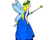 Disegno Fata con una lunga chioma  pitturato su stefania