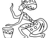 Disegno Donna con il tamburo  pitturato su pippo
