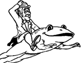 Disegno Folletto e rana  pitturato su giammy