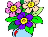 Disegno Vaso di fiori  pitturato su vaso fiori