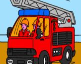 Disegno Camion dei Pompieri  pitturato su CAMION POMPIERI 1