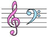 Disegno Chiave di sol e di fa pitturato su I love music 4ever!!!