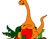 Disegno Diplodocus seduto  pitturato su bertelli motta fabio