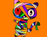 Disegno Mummia gatto scaraboechio pitturato su enri gjorga